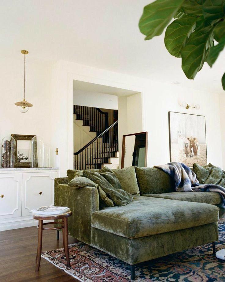 Photo of green velvet couch