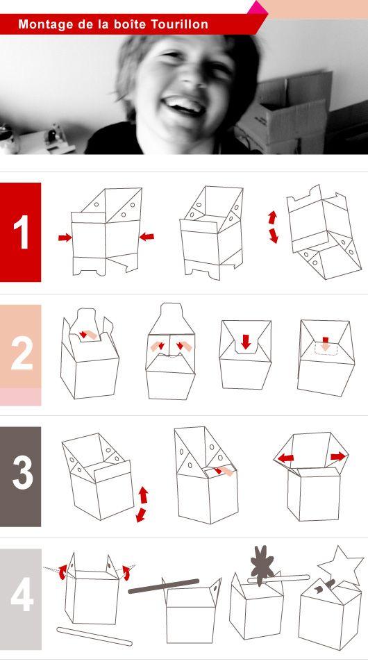 Montage de la boite tourillon paper packaging pinterest la boite montage et boite - Gabarit maison en carton ...