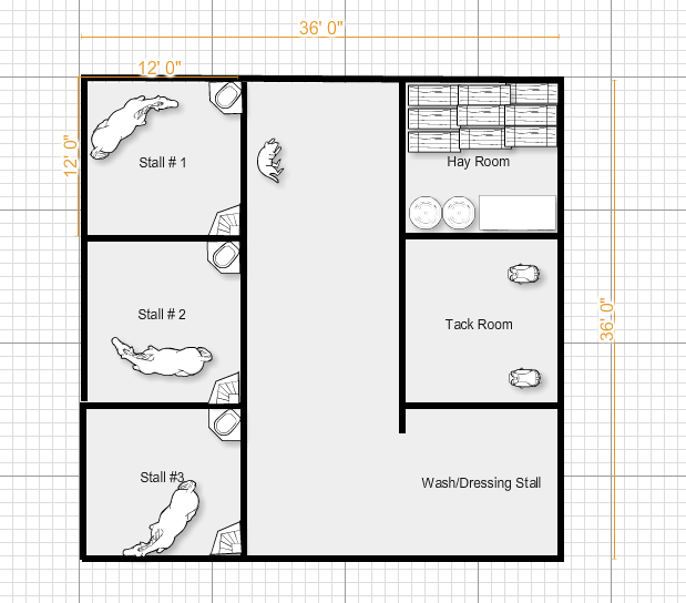 Barn plans like this would have stall doors that allowed for Four stall barn plans