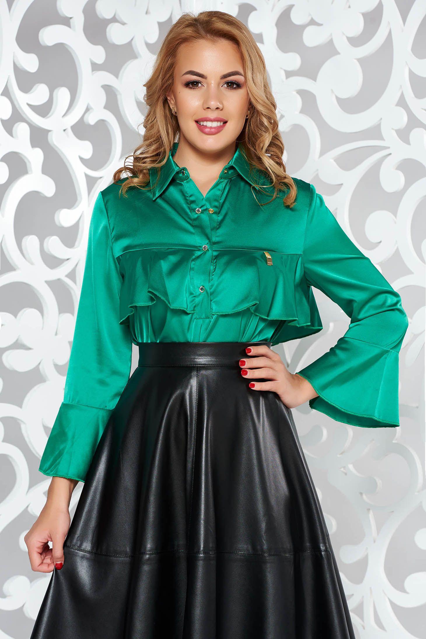 Ruffled satin blouse  b14a3f7b5572