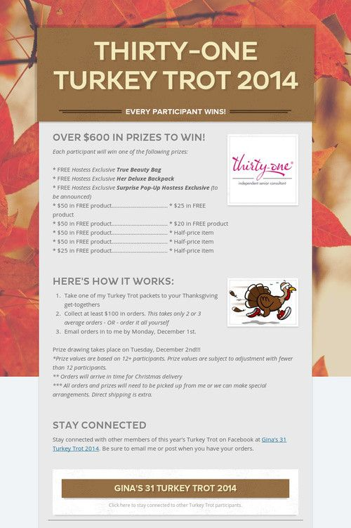 Thirty one turkey trot i may try this again or a bunny hop for 31 gifts negle Images