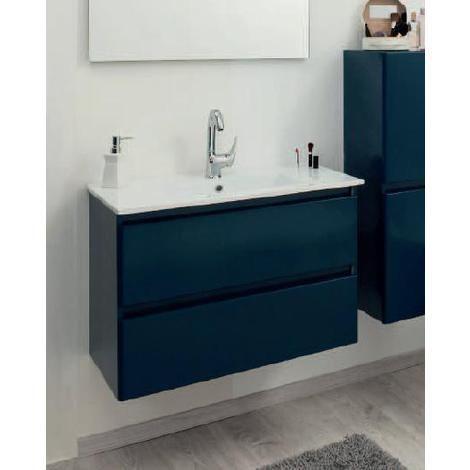 Aqua+ - Meuble salle de bain bleu pétrole mat à suspendre 60cm ...