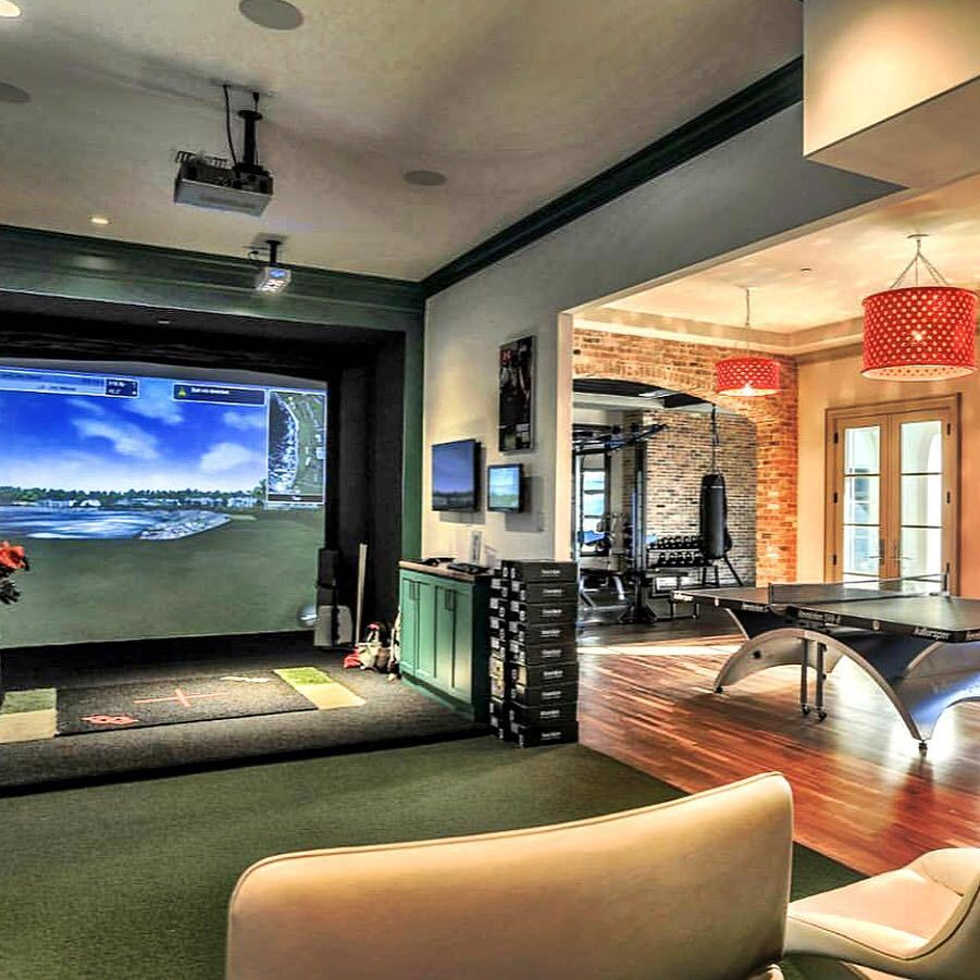 This Media Room Doubles As A Golf Simulator Man Cave Home Bar Man Caves Room Recreational Room