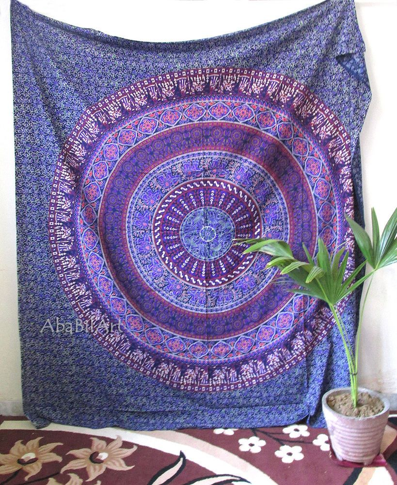 Queen Hippie Indian Tapestry Elephant Mandala Throw