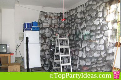 Garage wall covering ideas for a party google search for Diy haunted house walls