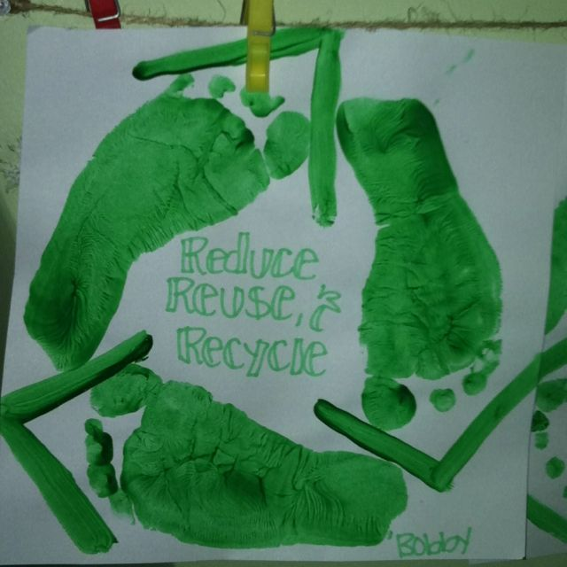 Give your kids and art project Have them make recycle signs for
