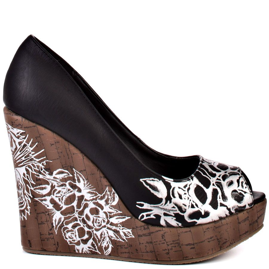 f17678a9609 Get an out of this world look in this super cute Ed Hardy wedge. Celestial  features a black man made upper with a silver floral screen print at the  vamp and ...