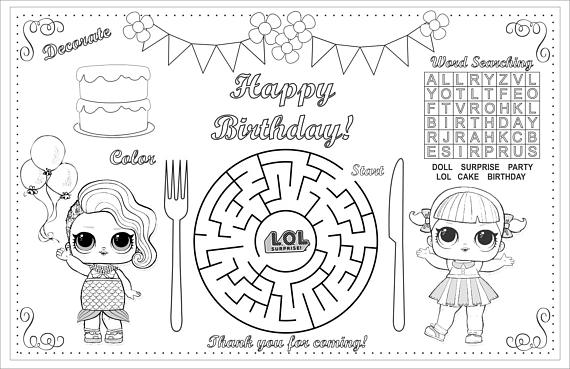 Birthday Kids Activity Placemat Lol Coloring Activity Page Printable Party Game Lol Placemat Birthday Activities Cute Coloring Pages Mermaid Theme Birthday