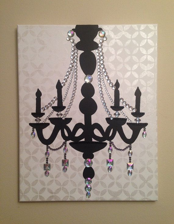 Chandelier Painting (16x20 Acrylic On Canvas) Pop Art, Black, White,  Rhinestones