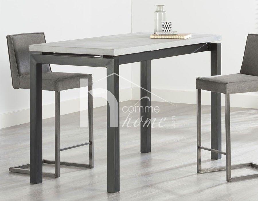 table de bar design en granit et acier fox | table haute