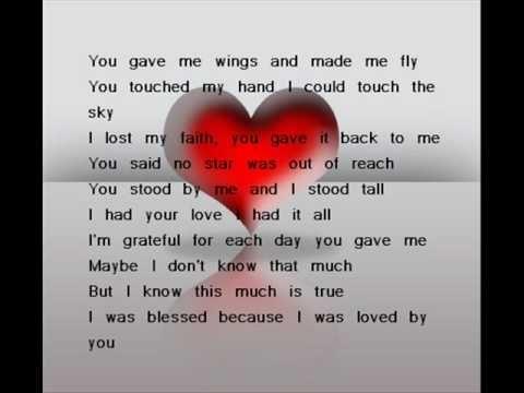 Because You Loved Me By Celine Dion Celine Dion Lyrics Celine Dion Because I Love You