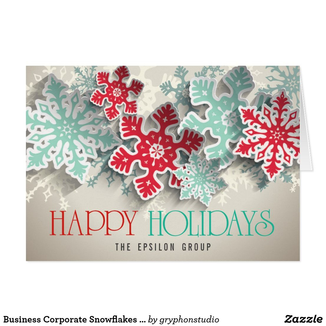 Business Corporate Snowflakes Happy Holidays Card | Christmas ...