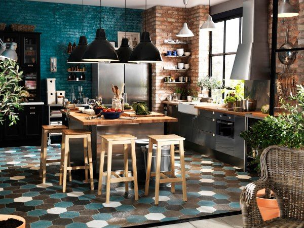 Ikea Love The Turquoise Brick Wall And Tile Kitchen Pinterest - Modele de cuisine ikea pour idees de deco de cuisine