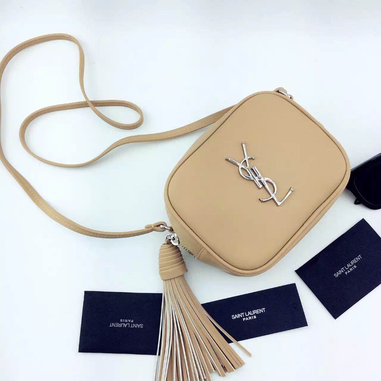 New Arrival!2016 Cheap YSL Out Sale with Free Shipping-Saint Laurent  Monogram Medium Blogger Bag in Dark Beige Leather 49c3233fc239b