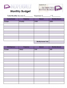 easy monthly budget worksheet