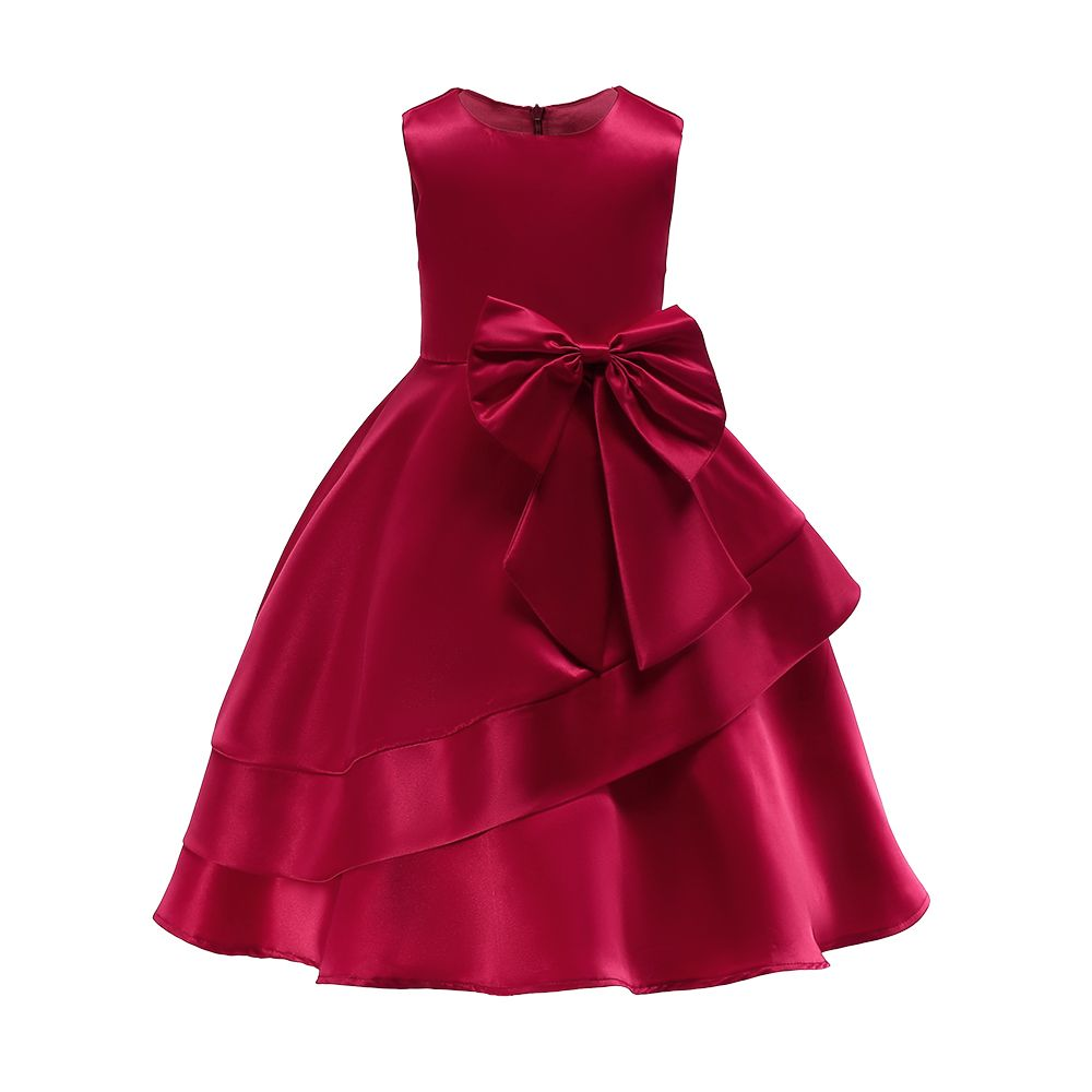 Sweet Solid Bowknot Decor Party Dress #babygirlpartydresses