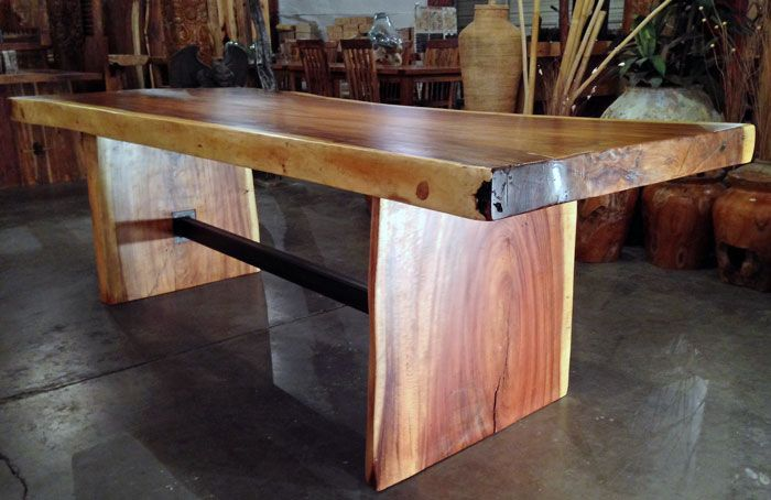 A Large Live Edge Monkeypod Wood Slab Dining Table With