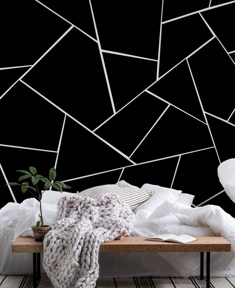 Black White Geometric Glam 2 Wallpaper Bedroom Wall Paint