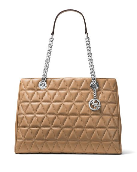 7a8b35d60d08 MICHAEL MICHAEL KORS Scarlett Large Quilted Tote Bag, Brown. # michaelmichaelkors #bags #leather #hand bags #tote #