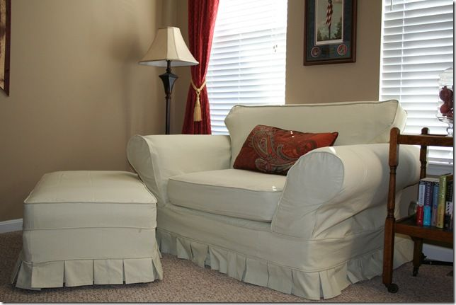 Pleated Chair And Ottoman Slipcovers For Chairs