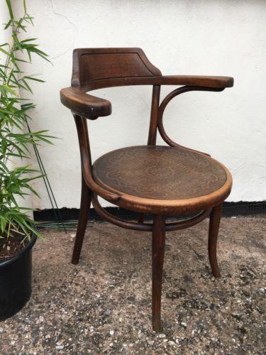 Antique Thonet Carver Captains Bentwood Chair Bistro Art Deco