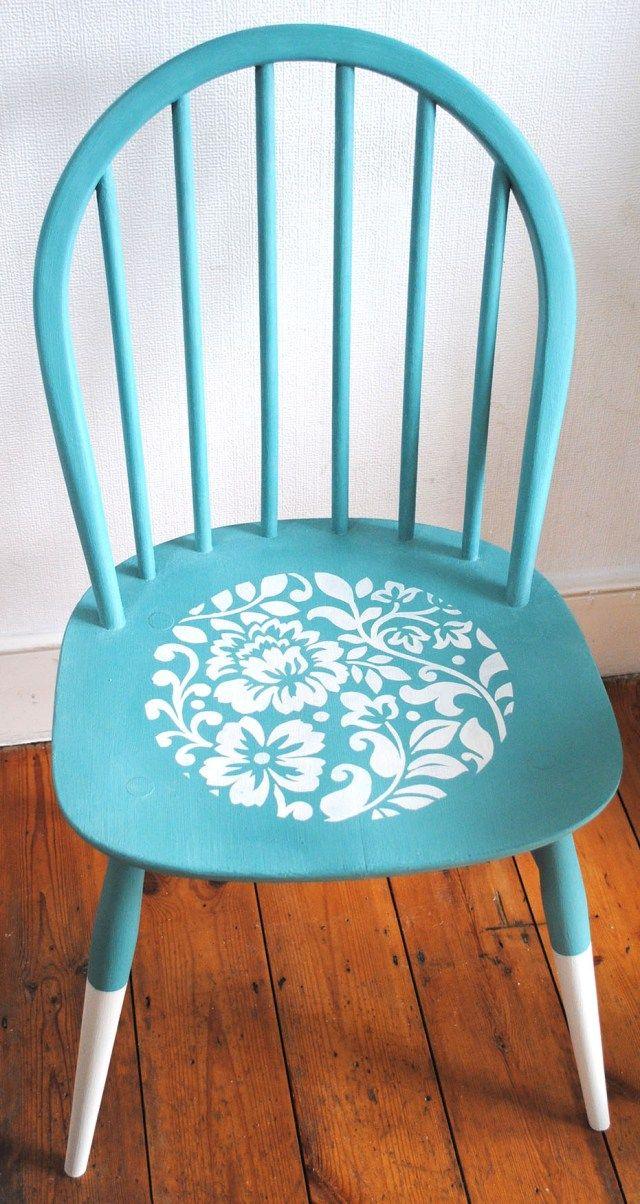 A reloved Ercol chair. Nicolette Tabram stencil Design.