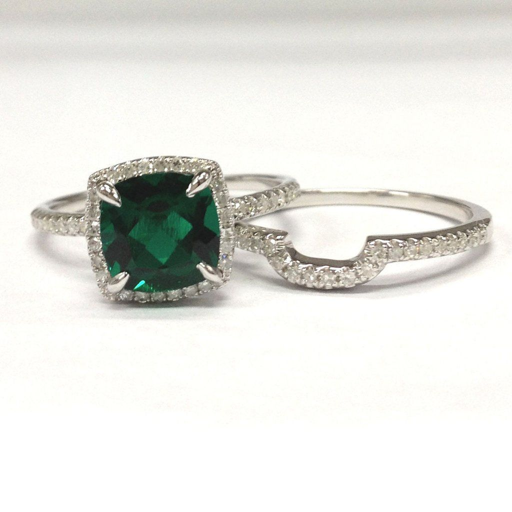 Cushion Emerald Engagement Ring Sets Pave Diamond Wedding 14K White