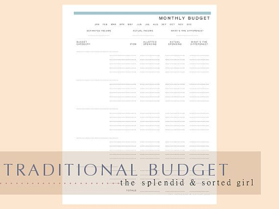 Traditional Budget template PDF Printable -- Instant Download the - budget spreadsheet free download