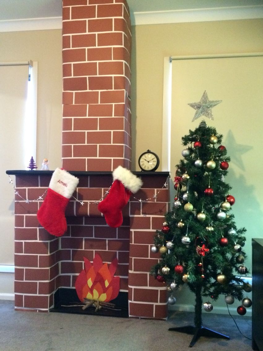 Fireplace And Chimney For Santa Made With Cardboard