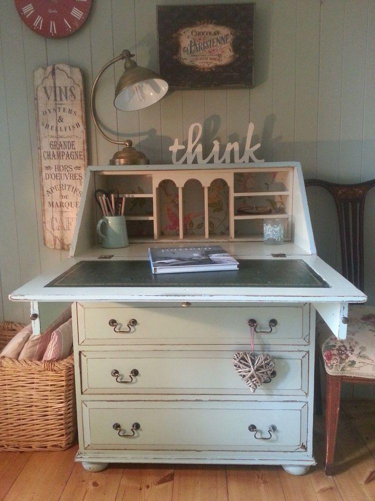 Vintage Solid Pine Shabby Chic Painted Bureau Writing Computer Desk Furniture Computer Desk Home Office Furniture Painted Bureau