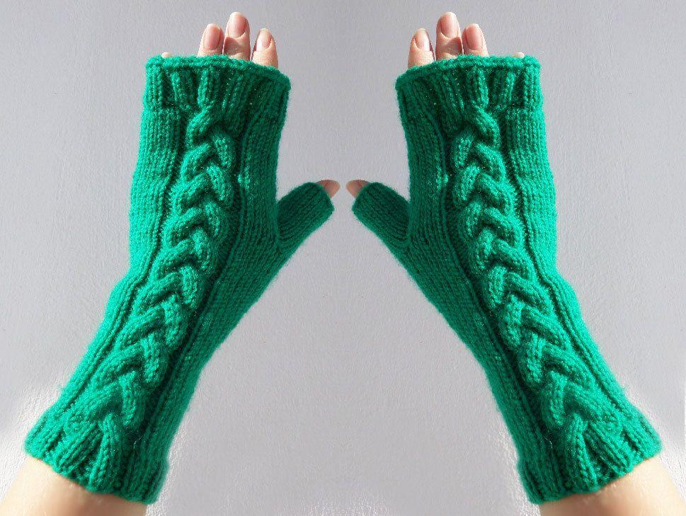 Green Fingerless Gloves, Knit Gloves, Winrwe Clothing, Wrist Warmer ...