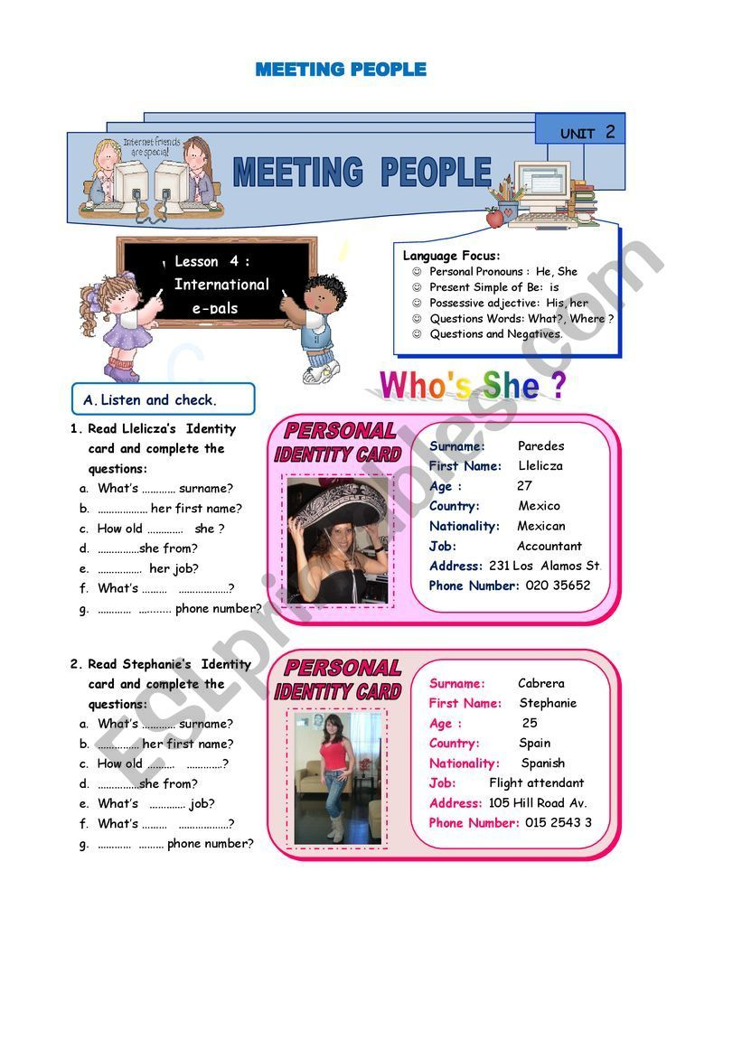 Meeting People Esl Worksheet By Luzcita Meeting People English Lessons For Kids Vocabulary Worksheets [ 1161 x 821 Pixel ]