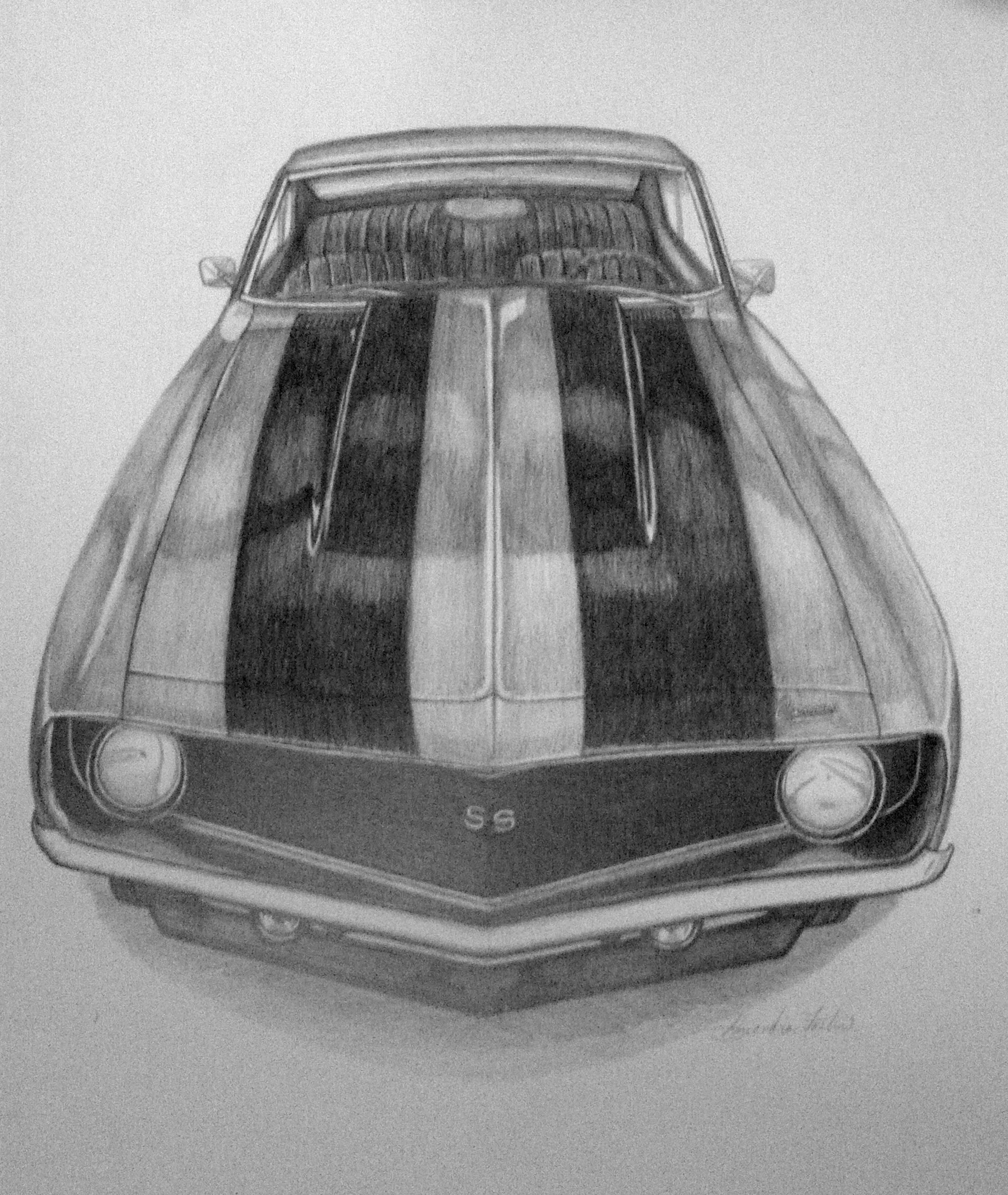 Original Pencil Drawing Of A 1969 Camaro Ss For Sale Done On Sturdy