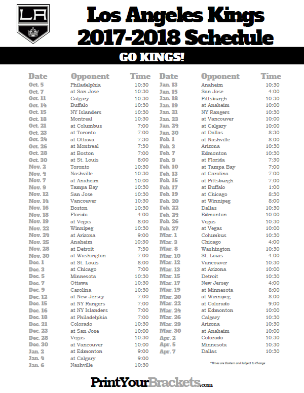 photo regarding Washington Capitals Schedule Printable identify Printable Los Angeles Kings 2017-2018 Plan Printable