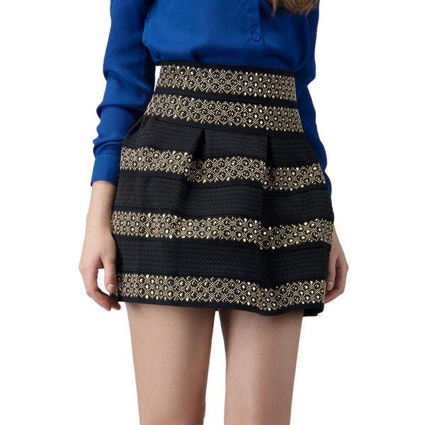 Black High Waist Bead Striped Skirt (380 MXN) ❤ liked on Polyvore featuring skirts, high waisted skater skirt, stripe skirt, striped skirt, skater skirt and beaded skirt