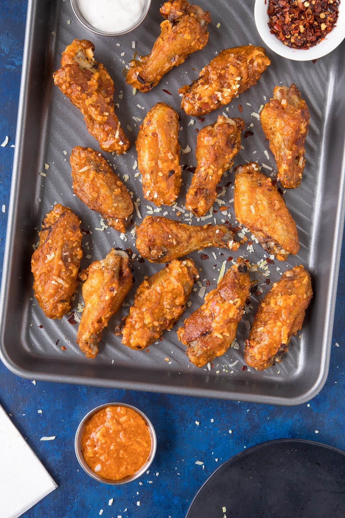 Garlic Parmesan Chicken Wings In A Pan Ready To Serve Chicken