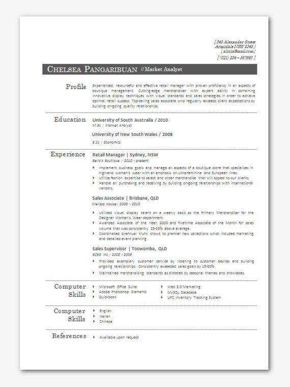 Modern Microsoft Word Resume Template Chelsea by Inkpower, $1200 - sample resume microsoft word