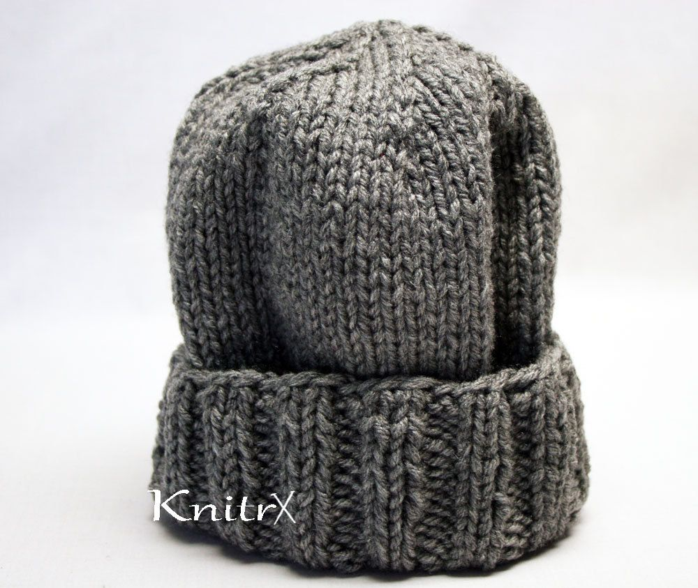 Stocking Hat Outdoorsman Hat Mens Winter Hat Thick Grey Hats Mens Stocking Hats Knitted Ski Hat Womens Winter Hats Womens Grey Stocking Hat by Knitrx on Etsy