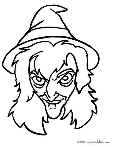 Scary Witch Face Coloring Page Witch Coloring Pages Face Line