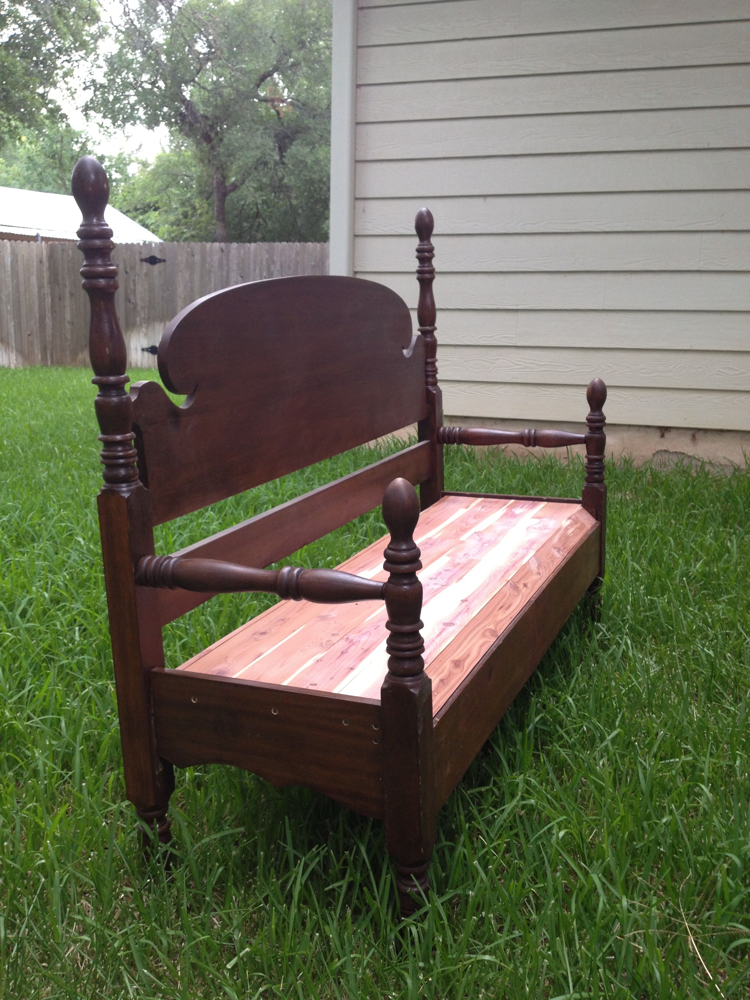 Headboard, footboard, and bed rail into a bench! Even used