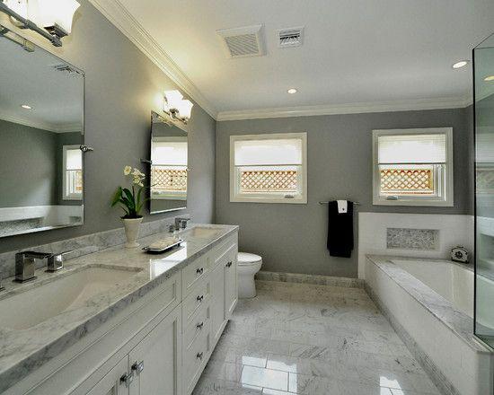 Best Benjamin Moore Coventry Gray White Master Bathroom 400 x 300