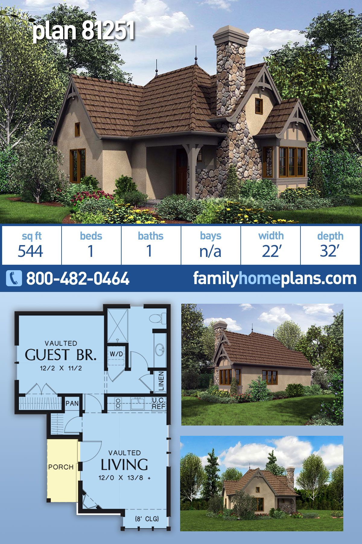 Tuscan Style House Plan 81251 With 1 Bed 1 Bath In 2020 Tuscan House Plans House Plans Family House Plans