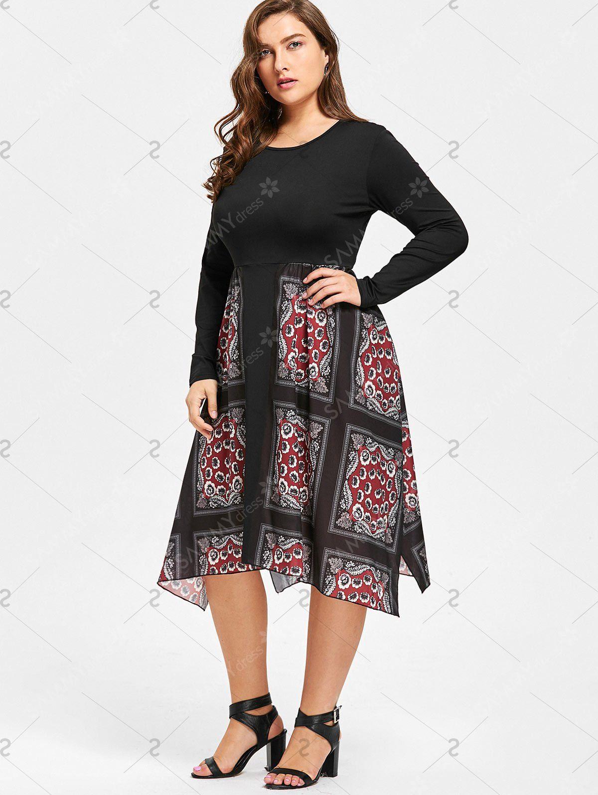 Handkerchief floral print plus size dress black xl me like