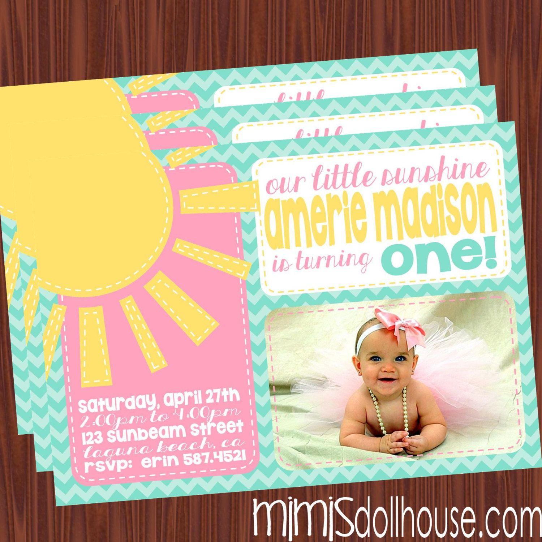 Sunshine Party Invitation Printable You are my by MimisDollhouse