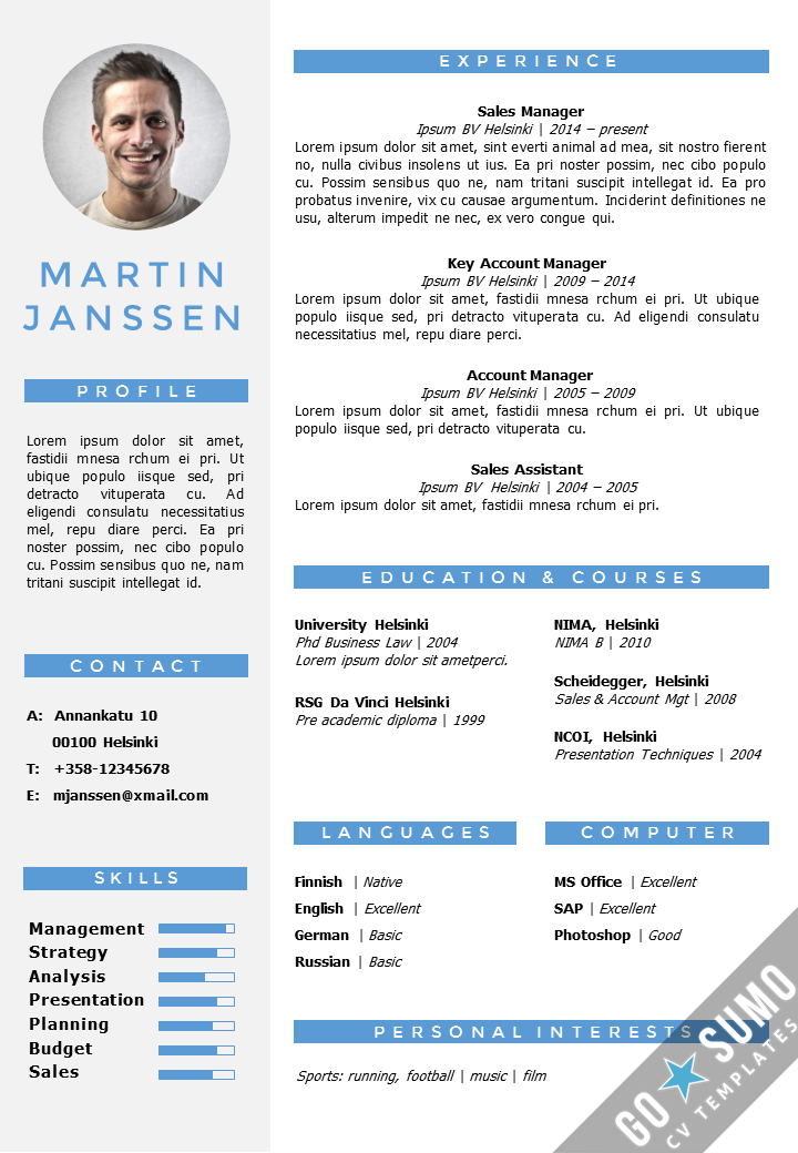 CV Resume template in Word. Fully editable files. Incl 2nd page + ...