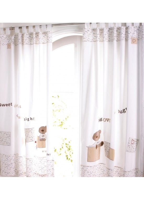Izziwotnot Vincent Bear Tab Top Curtains Nursery