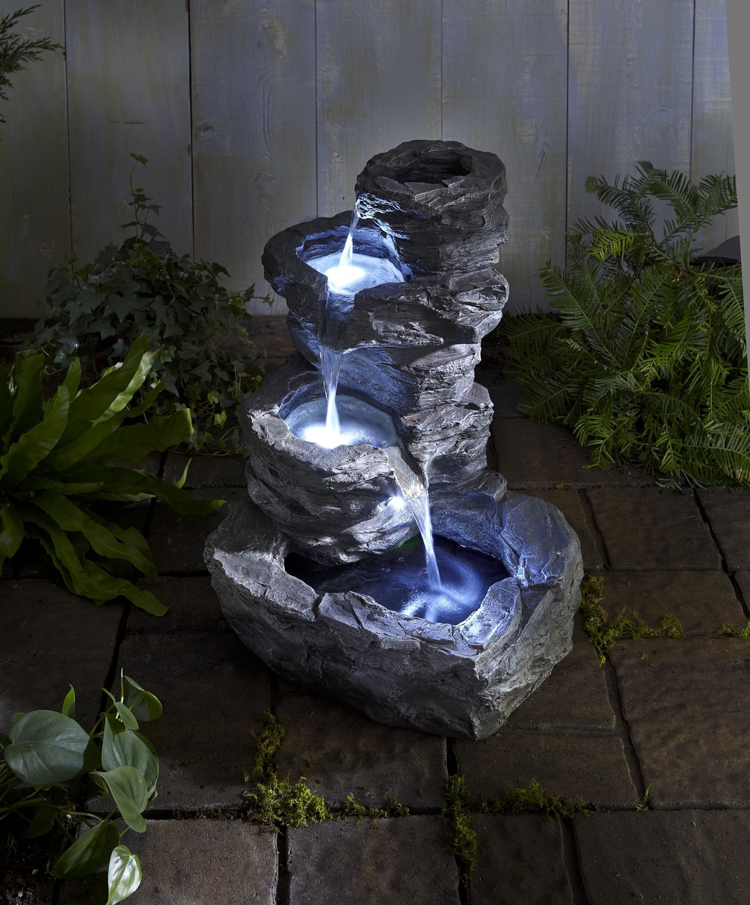 Fuentes de jardin con luces dise o zen fuentes for Cascadas jardin zen