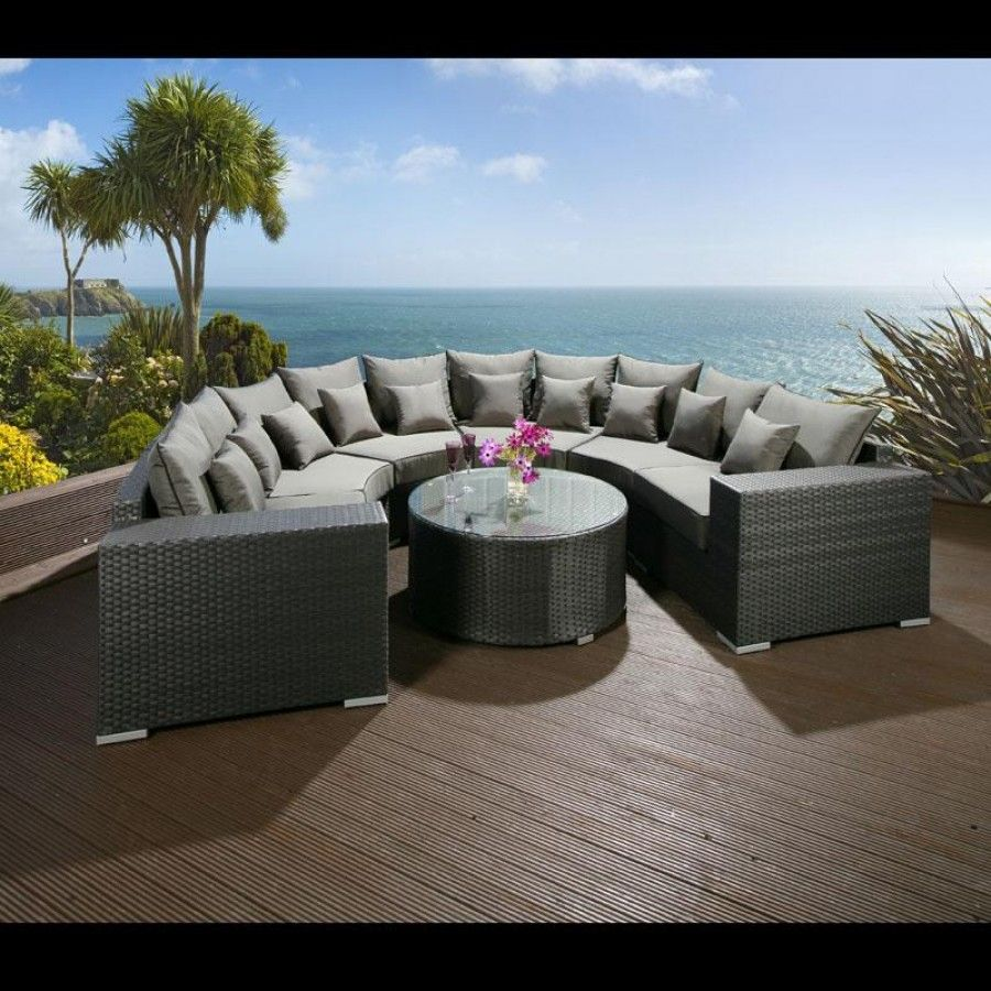Luxury Outdoor Garden U Shape 8 Seater Sofa Group Black Rattan Wicker Rattan Outdoor Furniture Rattan Garden Furniture Sofa Set Designs