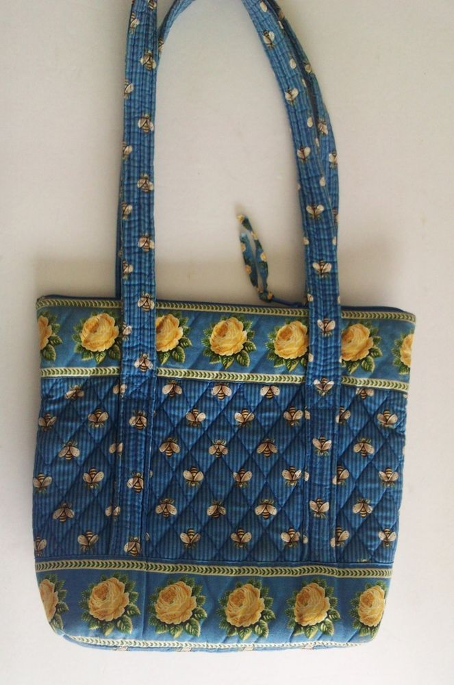 Vera Bradley Retired Pattern Bees Petie Villager Shoulder Tote Bag Free Usa Ship
