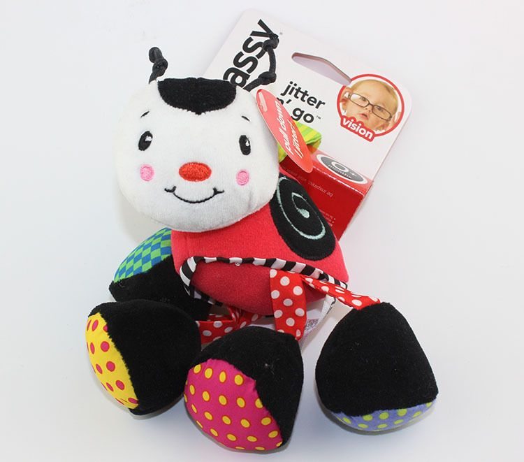 22cm Baby plush Rattle bell ring cartoon bee shaped crib bed Stroller hanging early Educational musical Toys cute stuffed doll